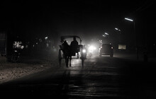 Horse Carriage Silhouette Of A Person Walking On The Road, Bagan, Myanmar