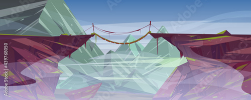 Suspended rope bridge hang above foggy mountain cliff, scenery rocky landscape background. Panoramic nature view with wooden bridgework connect rock edges at dull day, Cartoon vector illustration