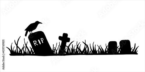 Stampa su Tela vector black and white illustration