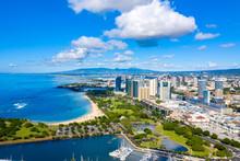 Ala Moana Beach Park And The Honolulu Skyline With The Waianae Mountain Range Off In The Distance