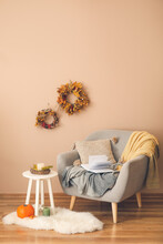 Stylish Interior Of Living Room With Autumn Decor