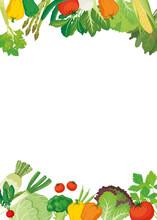 野菜フレーム 背景白(タテ)