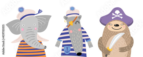 Fototapeta premium Set of cute cartoon animals on white isolated background. Funny sailor elephant, anteater, sloth pirate. Can be used for design of children`s rooms, postcards, books, parties. Vector illustration.
