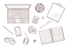 Hand Drawn Vintage Sketch Of Desktop With Laptop And Stationary. Top View Of Computer, Notebook, Plant On Table Isolated On White Background Engraved Illustrations Set. Workplace, Business Concept