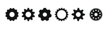 Gear Set. Black Gear Wheel Icons On White Background