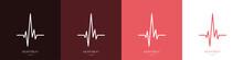 Heartbeat Logos Set. Heart Rate Or Cardiogram Concept. ECG. Vector Illustration
