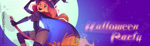 Canvastavla Halloween party cartoon banner, beautiful witch in magician hat and costume flying on broom on full moon background