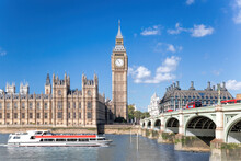 Big Ben And Houses Of Parliament With Boat In London, UK