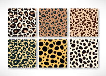 Vector Trendy Leopard Skin Seamless Pattern Set. Hand Drawn Wild Animal Cheetah Spots Abstract Repeat Texture For Fashion Print Design, Backgrounds, Digital Paper, Wallpaper