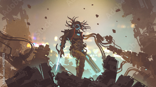 futuristic man with high-tech weapons standing on the rubble, digital art style, illustration painting