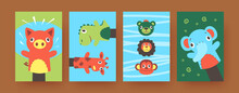Set Of Contemporary Art Posters With Cute Hand Sock Puppets. Vector Illustration. .Colorful Collection Of Hand Sock Toys In Form Of Soft Animals In Colored Background. Puppet Show, Toy Theater Concept