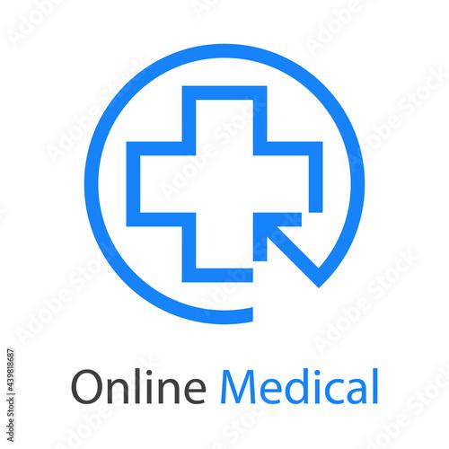 Wallpaper Mural Logotipo con texto Online Medical con cruz y flecha de mouse en circulo con line