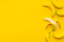 Half Peeled Banana With Other Fruits. Top View