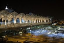 High Angle Shot Of The Oriente Train Station In Lisbon, Portugal During Nighttime