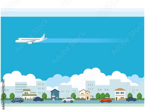Canvastavla 飛行機と街並みのイラスト素材