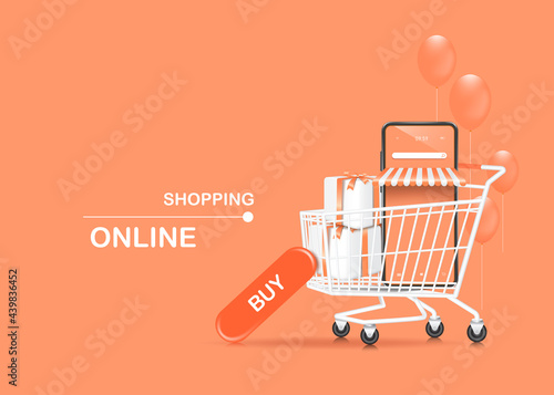 Obraz na plátně smartphone shop and white gift box in shopping cart and there is a buy icon lean