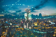 Telecommunication Tower With 5G Cellular Network Antenna On Night City Background, Digital Big Data Concept