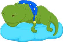 Cartoon Baby Dinosaur Sleeping