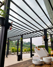 An Outdoor Co-working Area With A Green View