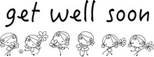 Vector Cartoon Girls With Flowers Get Well Soon