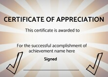 Template Of Certificate Of Appreciation With Copy Space Against Yellow Radial Background