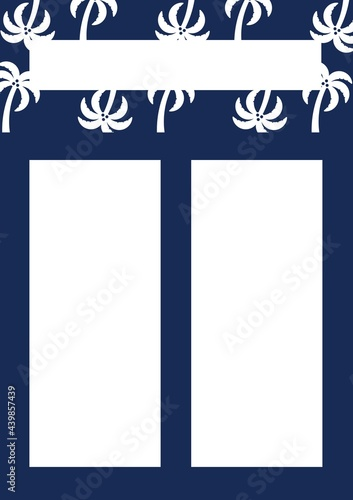 Travel template with copy space and multiple palm trees icons on blue background