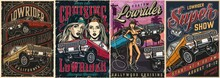 Lowrider Custom Cars Vintage Colorful Posters