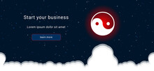 Business Startup Concept Landing Page Screen. The Yin Yang Symbol On The Right Is Highlighted In Bright Red. Vector Illustration On Dark Blue Background With Stars And Curly Clouds From Below