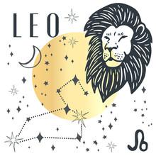 Zodiac Leo Boho Magical Vintage Distressed Art Symbol Or Label. Horoscope Sign Line Art Silhouette Design Vector Illustration. Creative Decorative Elegant Astrology Zodiac Emblem Template For Logo