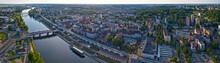 Letnia Panorama Centrum Miasta Gorzów Wielkopolski, W Tle Most Staromiejski, Wieża Dominanta, Spichlerz, Bulwar Wschodni