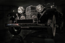 Vintage Black Car On A Black Background