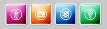 Set Line Meteorology Thermometer, Microwave Oven, QR Code And Unknown Search. Colorful Square Button. Vector