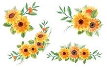Set Of Summer Bouquet Flowers