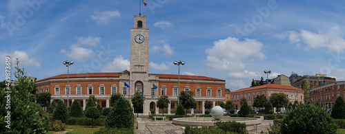 Fotografie, Obraz Panoramic view of Piazza del Popolo and the city hall in Latina, Italy