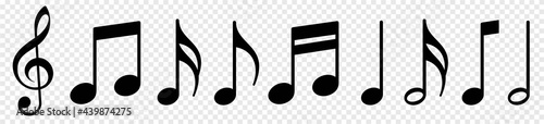 Fotografia, Obraz Music notes icon set, Music notes symbol, vector illustration
