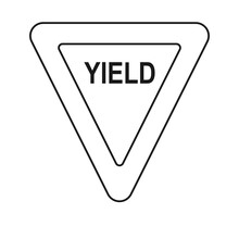 Yield Sign As Traffic Sign For Road Transport In Vector Icon