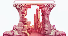 Ruins. Sphinx. Portrait From Egypt 10 Pounds 1952-1960 Banknotes.