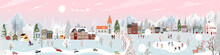 Winter Wonderland Landscape Background At Night With People Having Fun In The City On New Year,Christmas Day In Village With People Celebration, Kids Playing Ice Skate, Teenager Skiing On Mountain