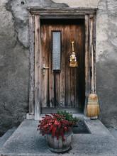 Wooden Door To Old Mountain Home