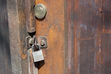 Old Padlock On A Door. Padlock On Wood Door