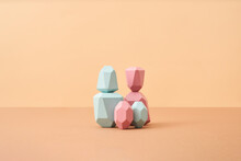 Balanced Colored Wooden Pieces As Family