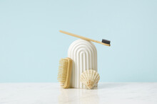 Sponge, Cosmetic Body Brush And Wooden Tooth Brush