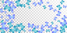 Exotic Blue Butterflies Flying Vector Background. Summer Vivid Insects. Decorative Butterflies Flying Girly Illustration. Sensitive Wings Moths Patten. Garden Creatures.