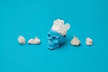 Blue Human Skull With Healing Quartz Crystals