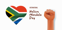 International Nelson Mandela Day Vector Concept With Flag And Africa Continent Silhouette