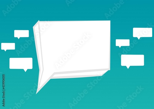 Composition of empty white speech bubbles on blue background