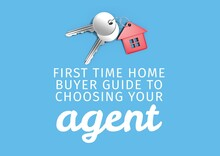 Composition Of House Agent Text In White, With Keys And House Key Fob, On Blue