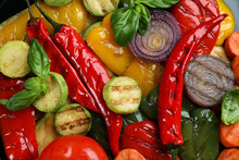 Delicious Grilled Vegetables With Basil As Background, Closeup