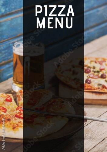 Composition of pizza menu text with copy space and pizza in background