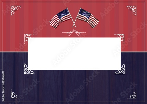 Canvas Print Composition of american flags and central copy space on red and blue background